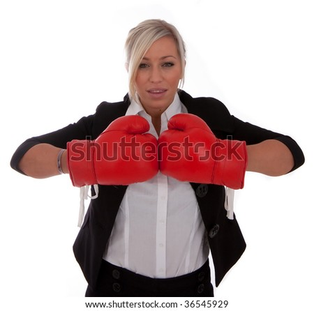 A businesswoman gets ready for the fight isolated onto a white background