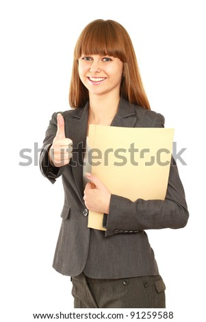A businesswoman holding a folder with thumb up sign, isolated on white background - stock photo