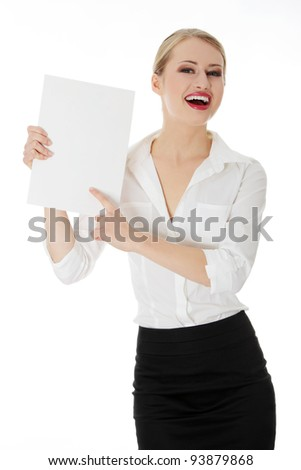 A businesswoman holding white board. Isolated