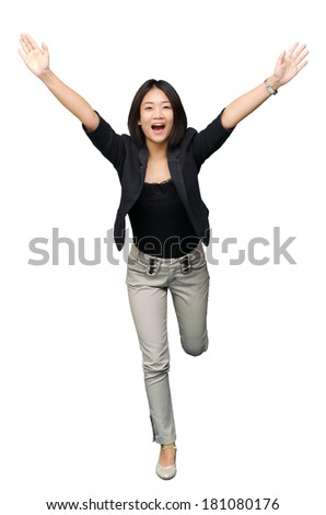 A businesswoman running winner isolated on white background