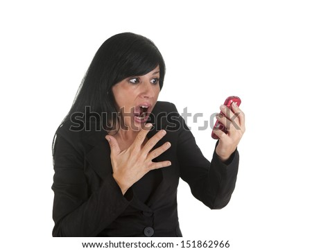 a businesswoman, screaming on the phone to their employees