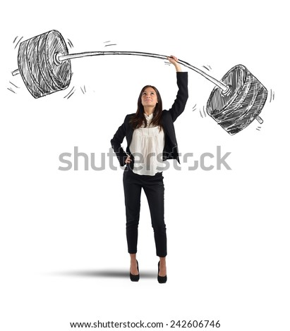 A businesswoman solves lightly every weight work - stock photo