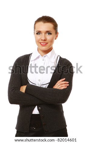 A businesswoman standing isolated on white - stock photo