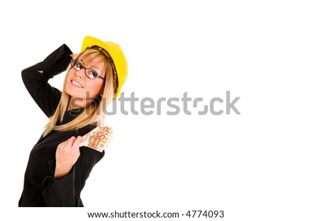 A businesswoman with earnings on white background - stock photo