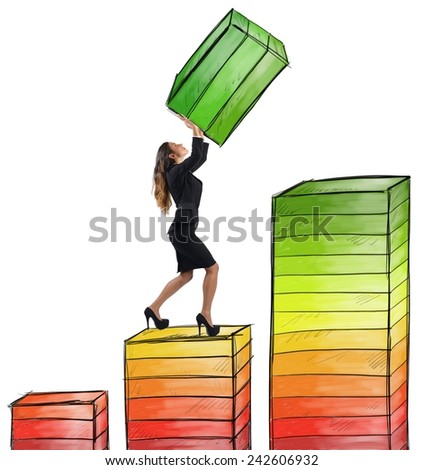 A businesswoman works hard to achieve success - stock photo
