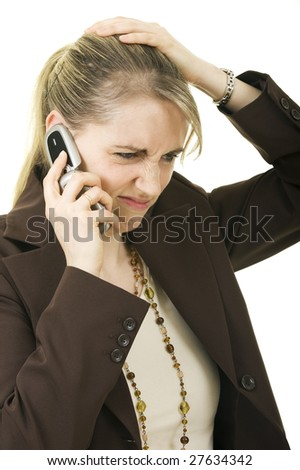A businesswoman worries about bad business news or crisis - stock photo