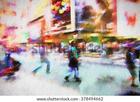 A bustling New York City street turned into a colorful abstract painting - stock photo