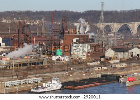 A busy industrial scene on the Monongahela River - stock photo