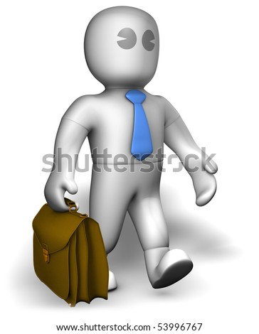 A busy manager walking with suitcase - stock photo