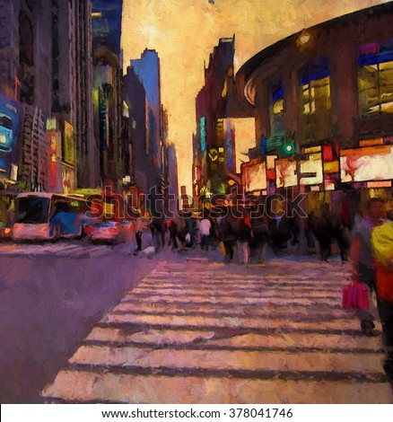 A busy New York City street at twilight transformed into a colorful purple toned painting - stock photo