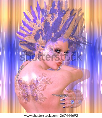 A butterfly adorns the back of this beautiful digital art fantasy girl. Feathers of purple and yellow create an original, vogue hairstyle. Glowing skin and an abstract background complete the scene. - stock photo