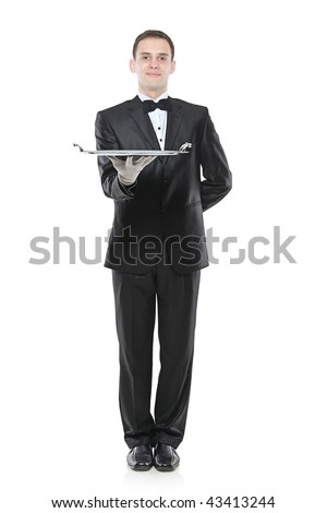A buttler holding a tray isolated against white background