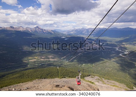 A cable car coming up the mountain above Jasper in the Canadian rockies.