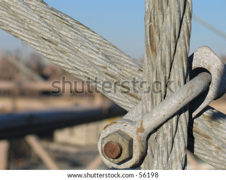 A cable connector on the Brooklyn Bridge - stock photo