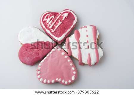 A cake in the shape of a heart for Valentines, Anniversaries, an - stock photo