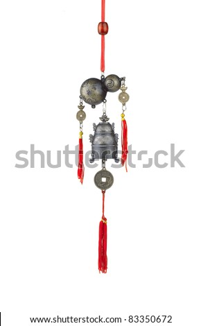 A calabash and bell wind chime, the chinese feng shui - stock photo