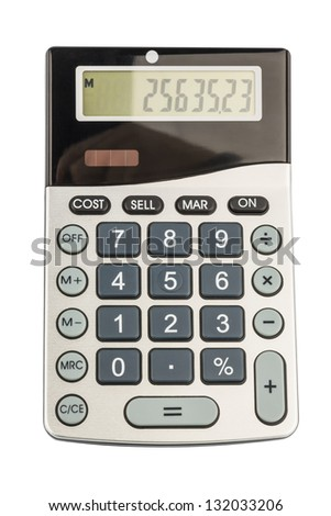 a calculator is located on a white background - stock photo
