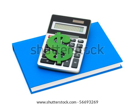 A calculator with a dollar sign on a blue book, Cost of education - stock photo