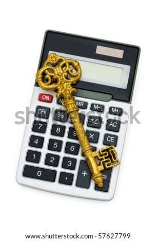 A calculator with a gold key isolated on a white background, Key to Success