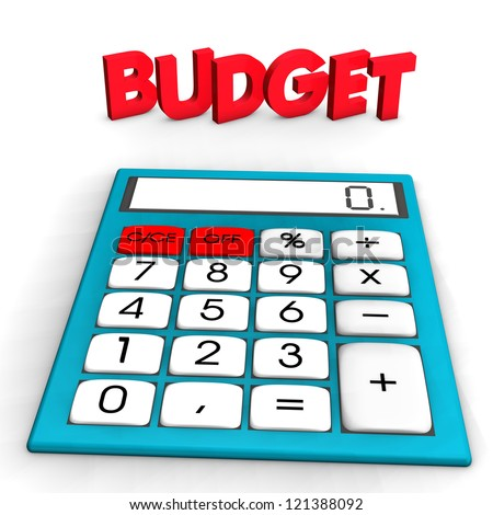 "A calculator with red text ""budget"". White background. - stock photo"