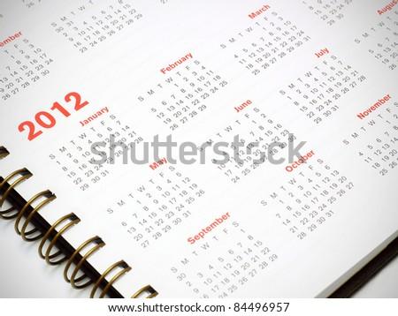 A 2012 calendar - stock photo