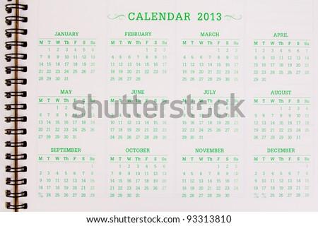 A 2013 calendar - stock photo