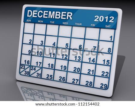 A calendar of December 2012 on a shiny background. - stock photo