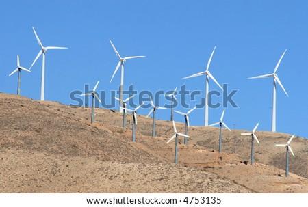 A California windmill farm. - stock photo