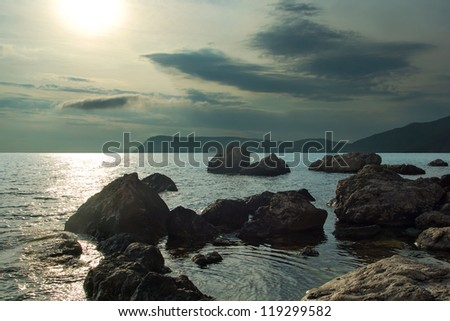 A calm, evening landscape, on the coast of the Black Sea - stock photo