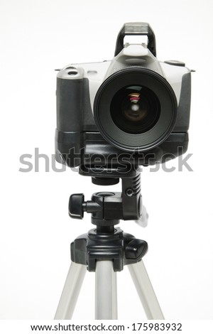 A Camera on a Tripod - stock photo