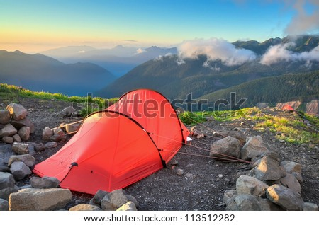 A Campsite High in the Washington Cascades - stock photo