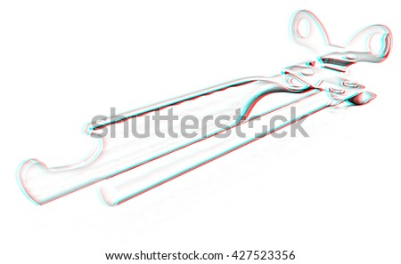 A can opener isolated against a white background (CLIPPING PATH). Pencil drawing. 3D illustration. Anaglyph. View with red/cyan glasses to see in 3D. - stock photo