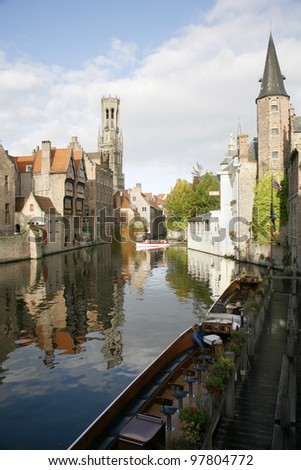 A canal in Bruges. - stock photo