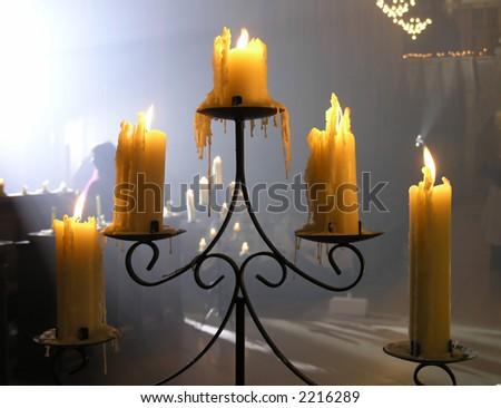 A candelabra  in a church - stock photo