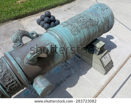 A Cannon at the Castillo de San Marcos Fort in St Augustine, Florida.       - stock photo