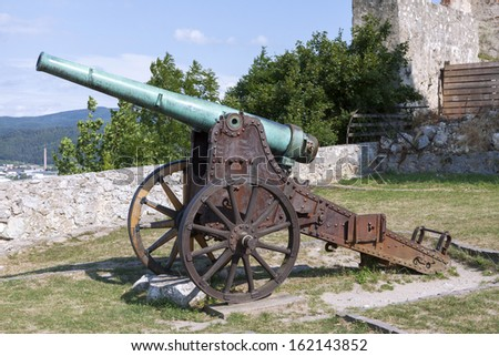 A cannon in Trencin castle in Slovakia - stock photo