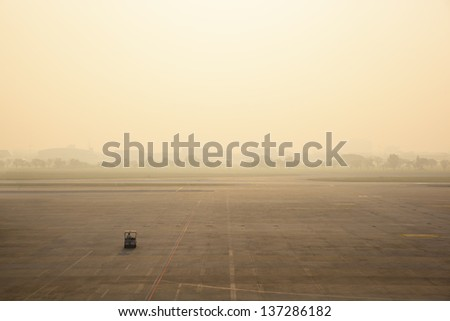 A car in airport runway - stock photo