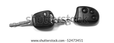 A car key with remote on white background - stock photo