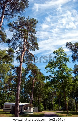 A caravan park located in rural woods near Torekov in Sweden. - stock photo