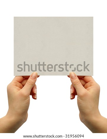a card blank in a hand - stock photo