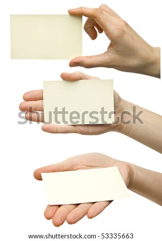 a  card blank in a hand . - stock photo