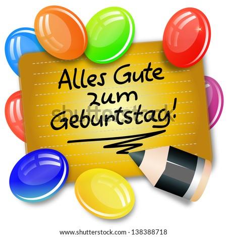 Card Handwritten Note German Language Alles Stock Illustration