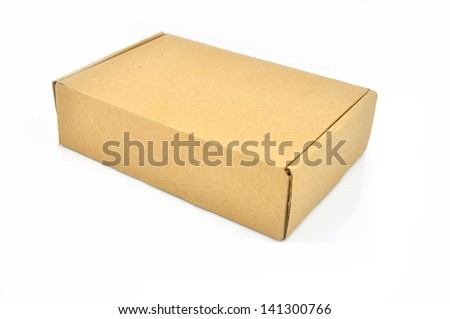 a cardboard box isolated on a white background - stock photo