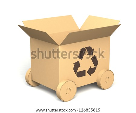 a cardboard box with recycle mark and wheels