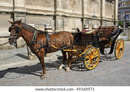 a carriage in front of Sevilla Cathedral - stock photo