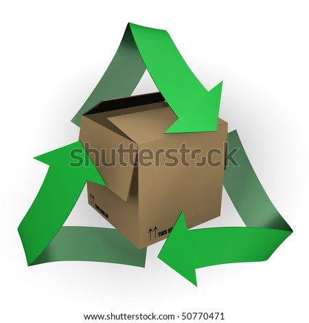 A carton box with recycle symbol - 3d image - stock photo
