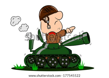 A cartoon army soldier in the turret of a tank - stock photo