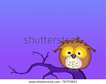 A cartoon baby Great Horned Owl sits on a lonely branch by himself during the night - raster. - stock photo