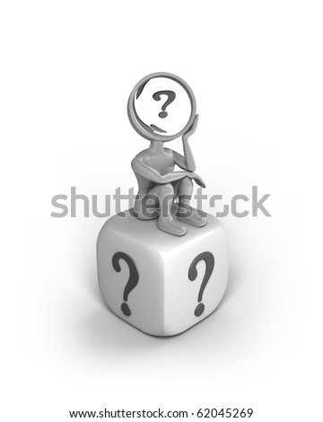 A cartoon character with a magnifying glass as his head. He sits with a thinking pose on a dice with a question mark on each side. - stock photo