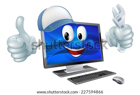 A cartoon computer repair mascot with a cap and spanner doing a thumbs up - stock photo